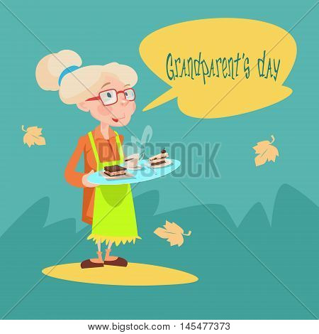 Grandmother Hold Tray With Sweets Happy Grandparents Day Greeting Card Flat Vector Illustration