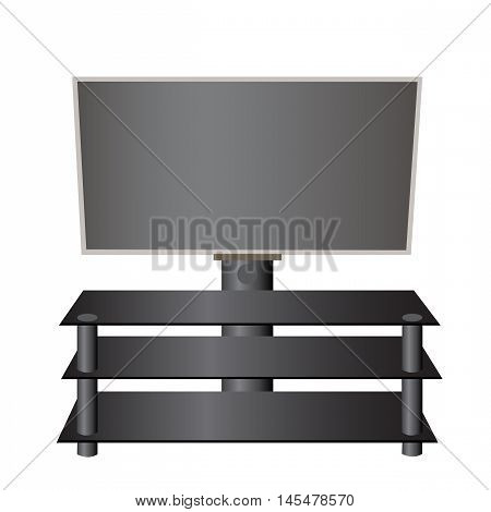 Flat-screen TV LCD, plasma on a special stand realistic vector illustration.