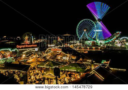 Worms, Germany - September 3: Ferris wheel and rides in Wormser Backfischfest in 2016