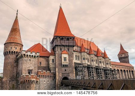 The Corvine Castle Also Known As The Hunyad Castle Is A Gothic-Renaissance Castle In Hunedoara Transylvania Romania