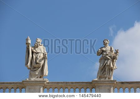 Statues of the Saint Peter Square in the Vatican