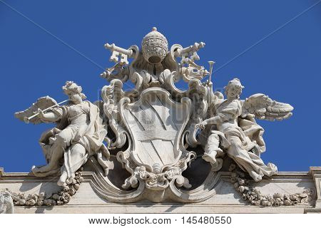Detail of the Trevi Fountain in the city of Rome