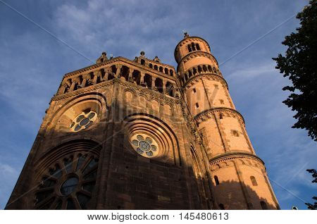 The cathedral of St Peter (German: Wormser Dom) is a church at Worms in south-western Germany. It was founded in 1110. It was the seat of the Catholic Prince-Bishopric of Worms until its extinction in 1800. It is built of red sandstone. It is 110 meters l