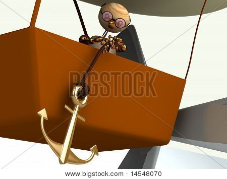 3D  Dirigible Balloon With Wood Man