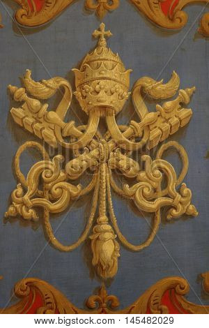 Decorative papal emblem in the Vatican museums