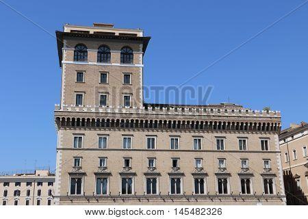 The Palazzio Venezia in the city of Rome