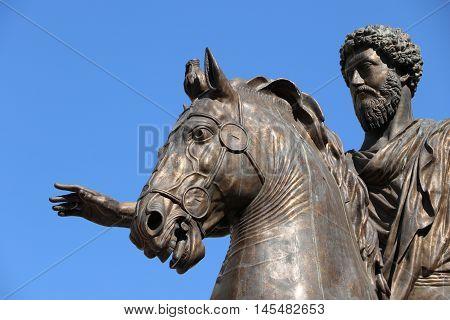 The statue of Marcus Aurelius in Capitoline Hill, Rome