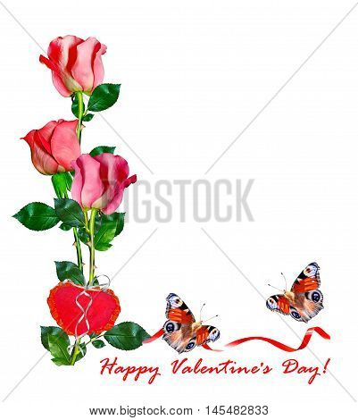 Heart of flowers rose isolated on white background. holiday card. butterfly