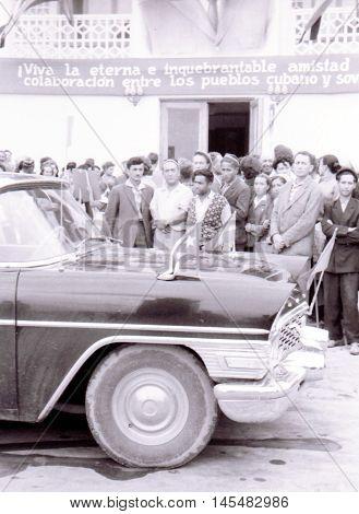 Yangiyer Uzbekistan - May 10 1963: Government Chaika for Fidel Castro.