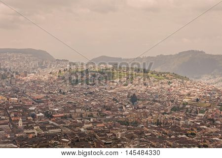 Aerial View Of Quito Historic Center View From Panecillo Ecuador South America