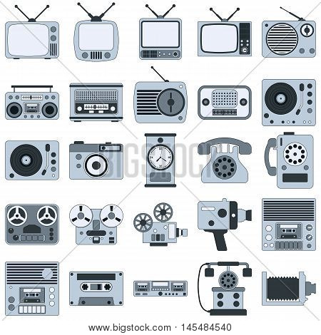 Retro electronic thin line flat vector icons collection