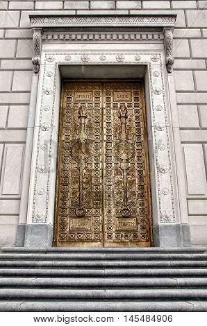 Monumental bronze doors of the Great War memorial in Indianapolis.