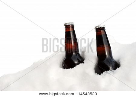 isolated two beers in the snow