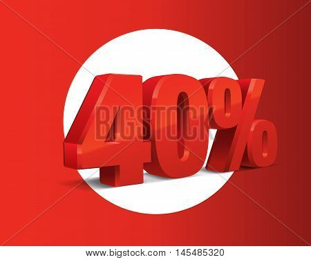 40 percent off, sale background, red object 3D. Eps10 Vector.
