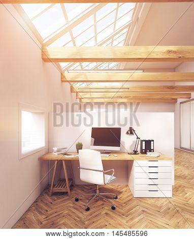 Sunlit Office In Attic With Windows