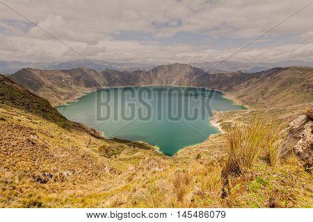 Turquoise Lagoon View Of The Quilotoa Lagoon Ecuador South America