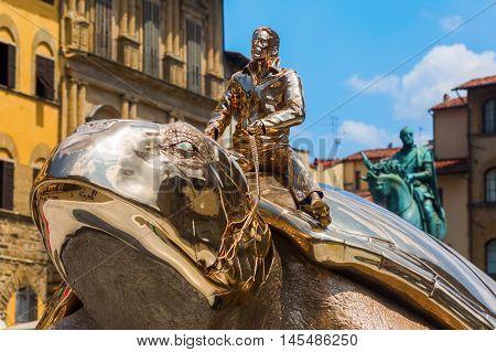 Golden Sculpture Of Jan Fabre In Florence