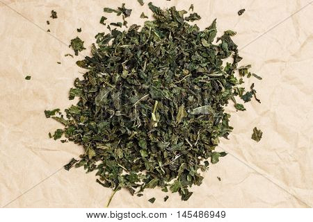 Heap Of Dry Nettle Tea Leaves