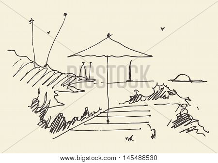 Simple sketch of an abstract seaside view and beach, vector illustration, sketch