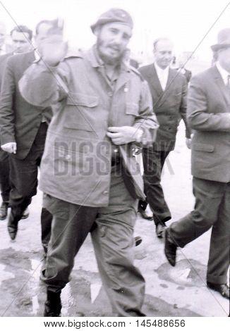 Yangiyer Uzbekistan - May 10 1963: Fidel arrived.