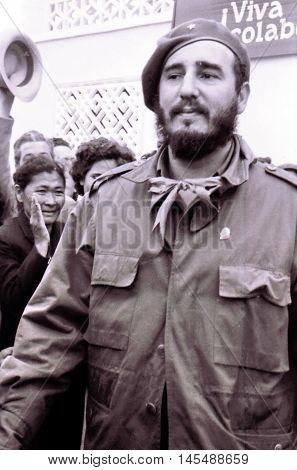 Yangiyer Uzbekistan - May 10 1963: Fidel Castro.