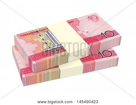 Turkmenistan money bills stack isolated on white background. 3D illustration.