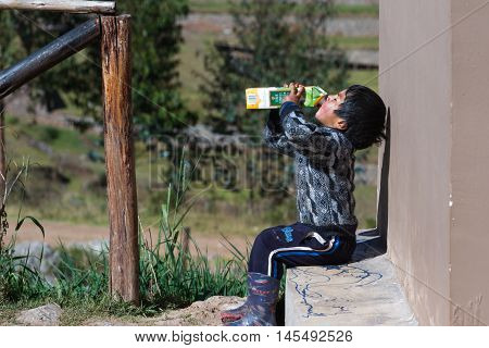 Young Andean Boy Drinking Juice
