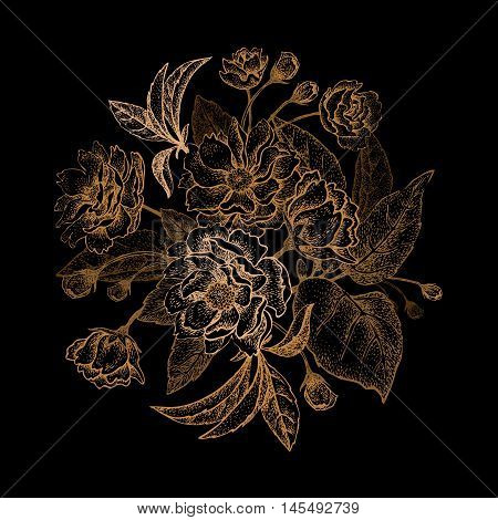 Chinese plum flower bouquet. The card vintage style. Gold embossing on a black background.