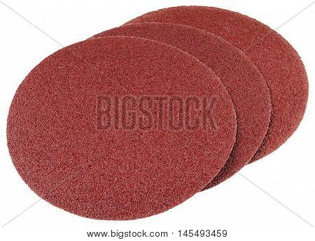 Abrasive discs for grinding and cleaning of metal, wood, paint and other materials. Objects isolated on a white background without shadows.