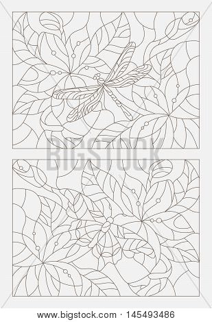 Set contour illustrations in the stained glass style butterfly and dragonfly on a background of leaves and flowers