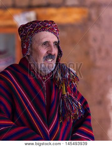 Native Peruvian Man In Traditional Clothing