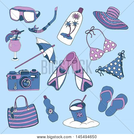 Colorful design set with swimming suite, hat, camera, sandals and other objects for beach holidays