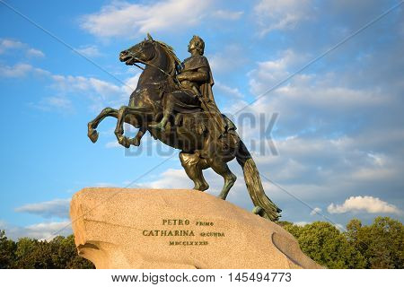 SAINT PETERSBURG, RUSSIA - AUGUST 09, 2016: The monument to Peter the Great closeup on the background of the cloudy sky on an evening in august. Historical landmark of the city Saint Petersburg