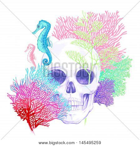 Illustration of the seabed. Seahorses corals skull. Vector. Composition isolated on white background.