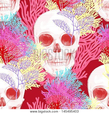 Illustration of the seabed with a skull and corals. Vector. Seamless background for textile fabric paper wallpaper.