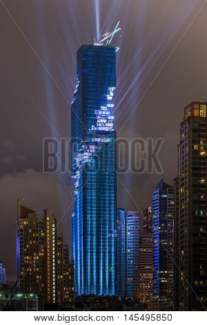 Bangkok Thailand- August 29 2016: The light and sound show of officially grand opening Mahanakhon building is the tallest building in Thailand.