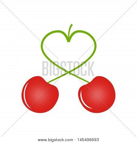 Two cherries, cherry has the peduncle in the shape of a heart, love concept, vector illustration for print or website design