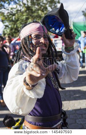 Píllaro ECUADOR - FEBRUARY 6 2016: Unidentified man dressed as Captain Jack Sparrow in the diabladas festivities in Pillaro January 6 2016.