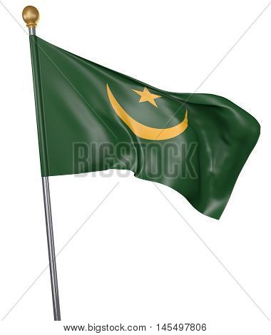 National flag for country of Mauritania isolated on white background, 3D rendering