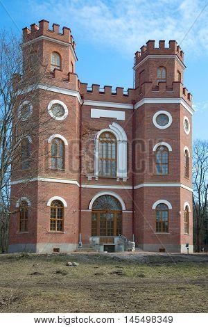 SAINT PETERSBURG, RUSSIA - APRIL 17, 2016: The pavilion Arsenal after restoration april day. Historical landmark of the Alexander Park, Tsarskoye Selo