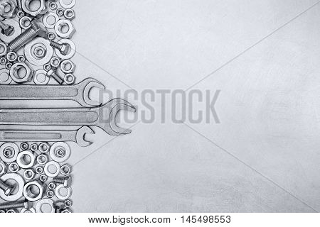 Metal Background With Standard Wrenches And Different Size Fixture