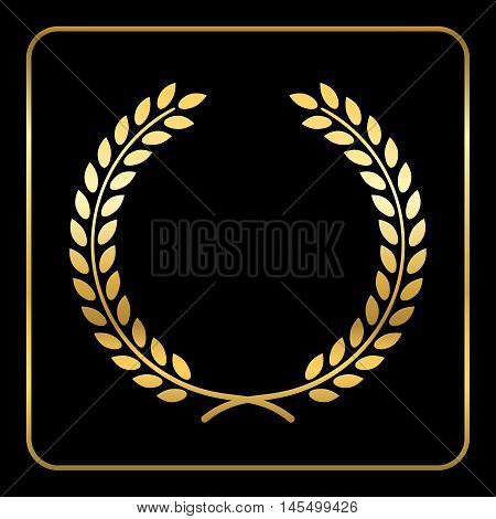 Gold laurel wreath. Symbol of victory and achievement. Design element for decoration of medal award coat of arms or anniversary logo. Golden leaf silhouette on black background. Vector illustration.