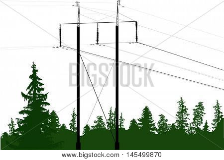 illustration with electric power pylon in green forest