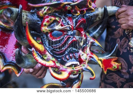 diabolic mask in Pillaro made with lamb horns and painted in various colors