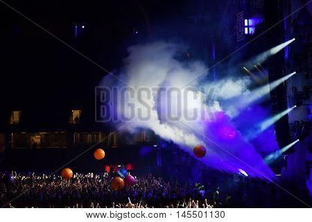 Smoke Cannons Emitting Smoke On The Stage