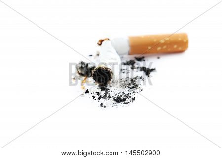 Cigarette Butt With Ash Isolated On A White