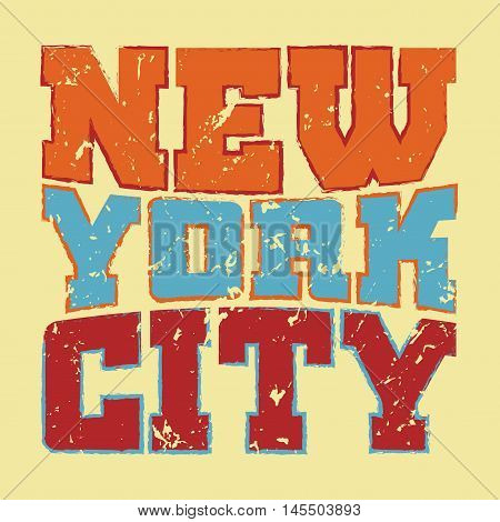 T shirt typography graphics New York. Athletic style NYC. Fashion american stylish print for sports wear. Colorfull emblem. Template for apparel card poster. Symbol of big city. Vector illustration