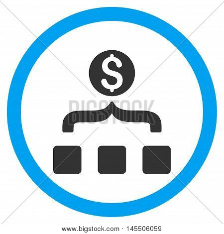 Money Aggregator vector bicolor rounded icon. Image style is a flat icon symbol inside a circle, blue and gray colors, white background.