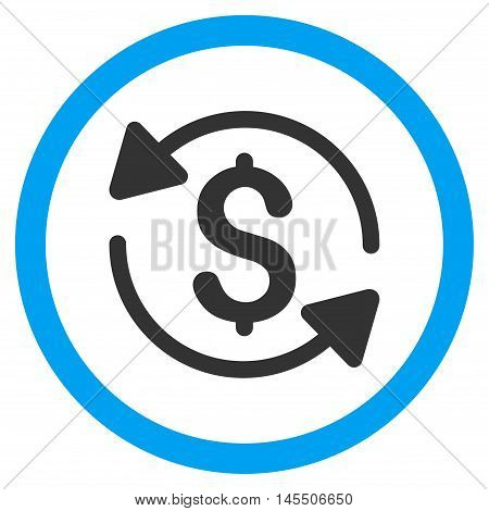 Money Turnover vector bicolor rounded icon. Image style is a flat icon symbol inside a circle, blue and gray colors, white background.