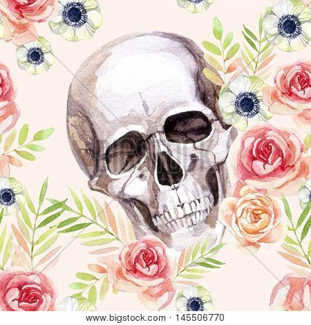 Watercolor human skull among the flowers seamless pattern. Watercolour skull background in boho style. Hand painted vintage illustration